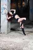 Girl dancing in the abandoned room Stock Photos