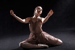 Dancer acting on a stage. Ballet dancer acting in play on a stage royalty free stock photo
