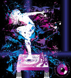 Dancer Background. An illustrated background of a dancer on a DJ turntable Stock Image