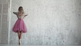 Dancer ballet pirouette on toes in pointe shoes. ballet dancer in a pink tutu. slow motion. Ballerina in a pink tutu and pointe shoes. beautiful young ballerina stock footage