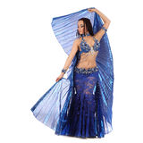 The dancer of belly dance in costume with wings Stock Photos