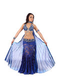 The dancer of belly dance in costume with wings Royalty Free Stock Images