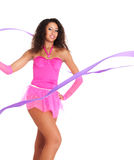 Dancer black girl with the ribbon Stock Images