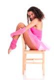Dancer black girl sitting on Stock Images