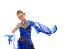 Dancer in blue-white dress Royalty Free Stock Photos