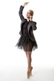Dancer business woman with phone Royalty Free Stock Images