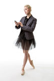 Dancer business woman with phone Stock Photos