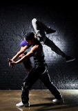 Dancer couple. Contrast colors effect stock images