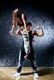Dancer couple. Contrast colors effect stock images