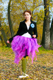 The dancer dances in the autumn Royalty Free Stock Photo