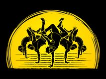 Dancer, Dancing people, Group of people dancing action. Graphic vector Royalty Free Illustration