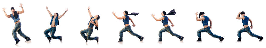 Dancer dancing on the white Royalty Free Stock Images