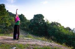The dancer facing sunset Royalty Free Stock Image