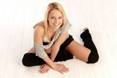 Dancer on floor smiling happy Royalty Free Stock Photo