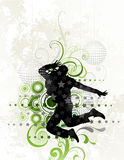 Dancer on floral background Royalty Free Stock Photography