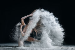 Dancer and flour Royalty Free Stock Images