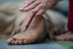 Dancer foot closeup royalty free stock photo