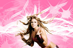 Dancer girl. Is doing a hair flip against funky background Stock Photography
