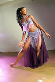 Dancer Girl. Attractive African American Girl Belly Dances Royalty Free Stock Photo