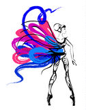 Dancer. Girl in colourful dress with beautyful body Stock Illustration