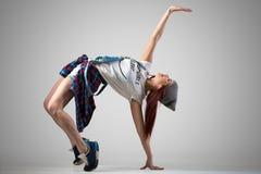Dancer girl doing bridge exercise Stock Photo