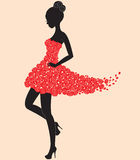 Dancer girl in dress of roses Stock Image
