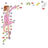 Dancer girl with pink dress, notes and hearts comic humorist design Royalty Free Stock Photo