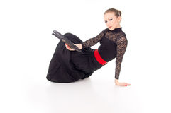 Dancer girl with a red rose and a fan Royalty Free Stock Images