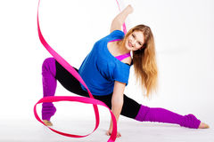 Dancer gymnastic girl with ribbon Royalty Free Stock Images