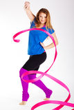Dancer gymnastic girl with ribbon Stock Photo