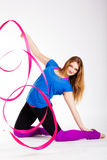 Dancer gymnastic girl with ribbon Royalty Free Stock Photos