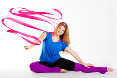 Dancer gymnastic girl with ribbon Stock Images