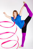 Dancer gymnastic girl with ribbon Royalty Free Stock Photo