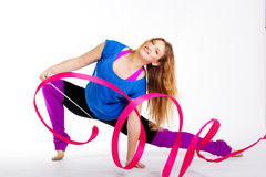 Dancer gymnastic girl with ribbon Royalty Free Stock Photography