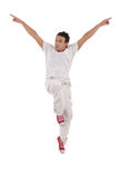 Dancer with hands up jumps Royalty Free Stock Photo