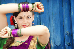 Dancer in Indian Sari Royalty Free Stock Image