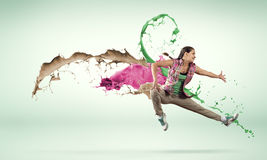 Dancer in jump Stock Photo