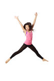 Dancer Jumping and Laughing. Full body portrait of asian american dancer jumping in studio on white background wearing casual athletic clothing (pink royalty free stock photography