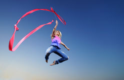 Dancer jumping with ribbon Royalty Free Stock Photo