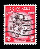 Dancer from Kandy, Local motives serie, circa 1958. MOSCOW, RUSSIA - MAY 13, 2018: A stamp printed in Ceylon shows Dancer from Kandy, Local motives serie, circa Stock Photo