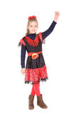 Dancer. Little girl dressed as a latino dancer isolated in white Royalty Free Stock Photo