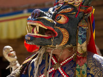 The dancer in mask performing religious Cham dance Stock Images