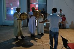 Dancer musicians. Dancer during animation evening in Morocco royalty free stock photo