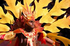 Dancer in Notting Hill carnival. A male dancer in Notting Hill Carnival parade in London Stock Image