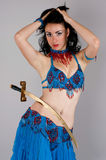 Dancer. Oriental dance with saber Royalty Free Stock Images