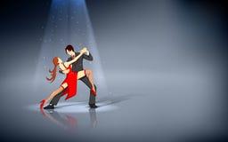Dancer performing Salsa. Illustration of dancer performing salsa under spot light Royalty Free Stock Image