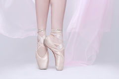 Dancer In Pink Pointe Shoes Using Proper Technique royalty free stock image