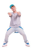 Dancer pointing with both hands Royalty Free Stock Images