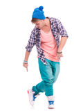 Dancer pointing & looking at his shoes Royalty Free Stock Images