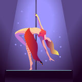 Dancer on pole Royalty Free Stock Photo